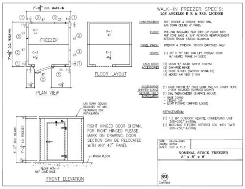 8 ft x 8 ft x 8 ft Walk-in Freezer Quick Ship Commercial Cooling Par Engineering Inc. City of Industry