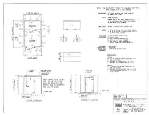 8 ft x 12 ft x 8 ft Walk-in Cooler and Freezer Combo Box Commercial Cooling Par Engineering Inc. City of Industry