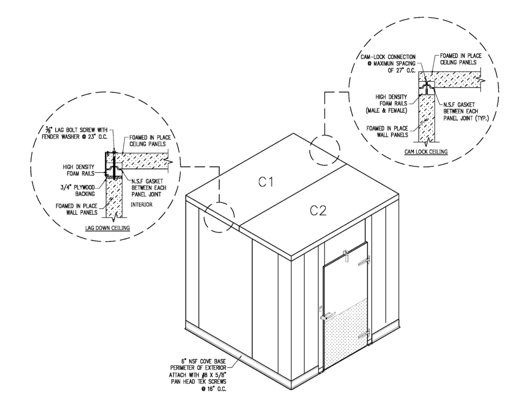 Cam Down vs Lag Down Ceiling Walk-in Cooler Commercial Cooling Par Engineering Inc.