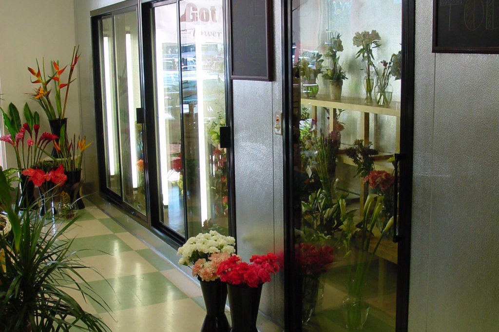 Custom Flower Display Box with Glass Display Sliding Door from Commercial Cooling Par Engineering Inc.