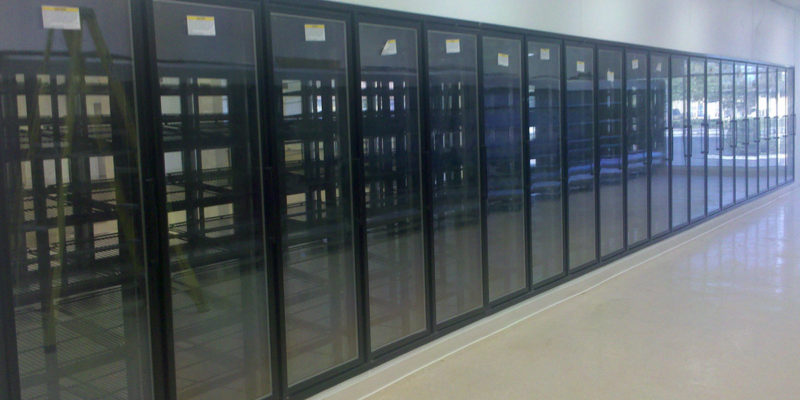 Walk-in Cooler Box with Glass Display Doors and Shelving for Grocery Store Commercial Cooling Par Engineering Inc